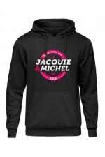 Sweat à capuche J&M logo rond : Sweat-shirt à capuche noir avec logo rond on dit merci qui de Jacquie et Michel sur le devant.